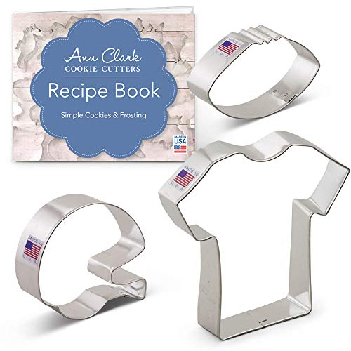 Ann Clark Football Cookie Cutter Set - 3 Piece - Football, Football Helmet, and T-Shirt - Tin Plated Steel]()