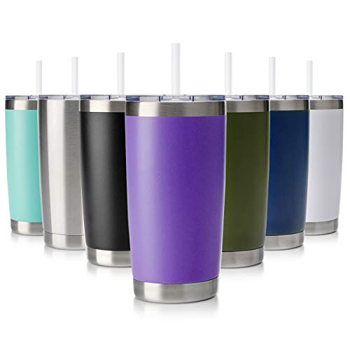 Civago 20oz Tumbler Stainless Steel Coffee Tumbler Double Wall Vacuum Insulated Travel Mug with Lid and Straw (Purple, 1 Pack) (Purple Tumblers)