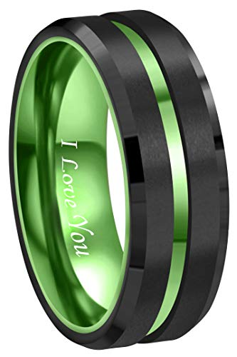 lack Tungsten Wedding Band Ring Men Women Matte Finish Polished Green Groove Engraved I Love You Comfort Fit Size 6 to 16(8mm,11) ()