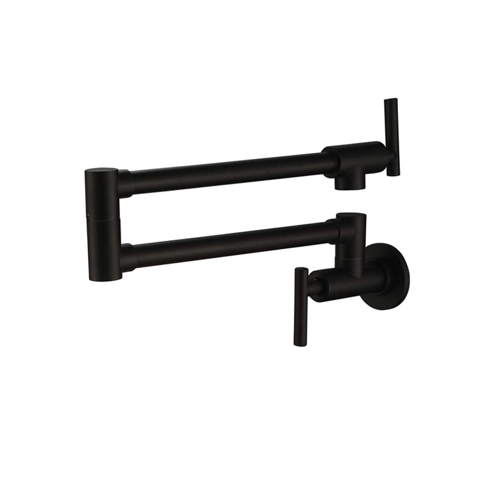 PHASAT Pot Filler Faucet Wall Mounted,Matte Black,Double Joint Spout Swing Arm Single Hole Two Handle Brass Kitchen Stove Faucet,71211B by PHASAT
