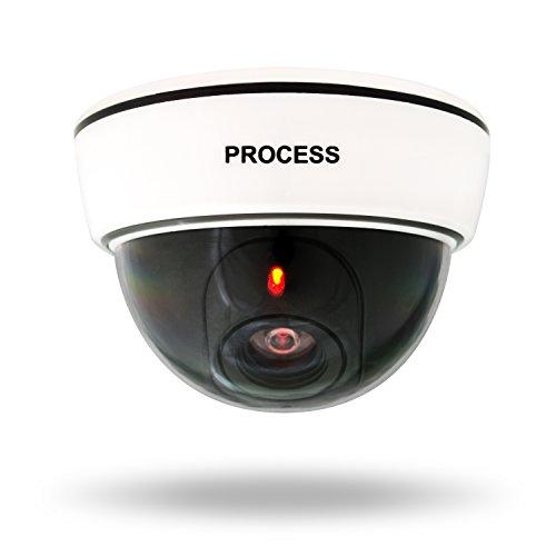 VENKON - Überwachungskamera Attrappe LED Sicherheitskamera Nachbildung - Batteriebetrieben - für Indoor & Outdoor