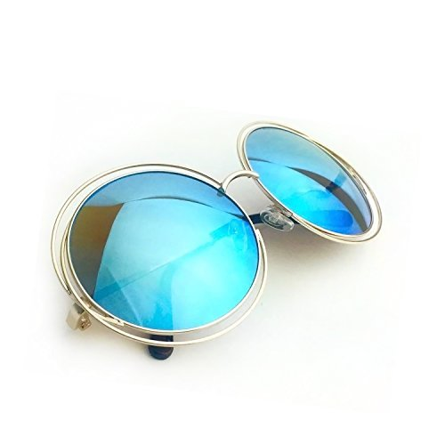 Style Bohemian Beer - XXL Halo Double Wire Oversized Big Round ROXANNE Bohemian Coachella Sunglasses Color Gold Turquoise Mirror