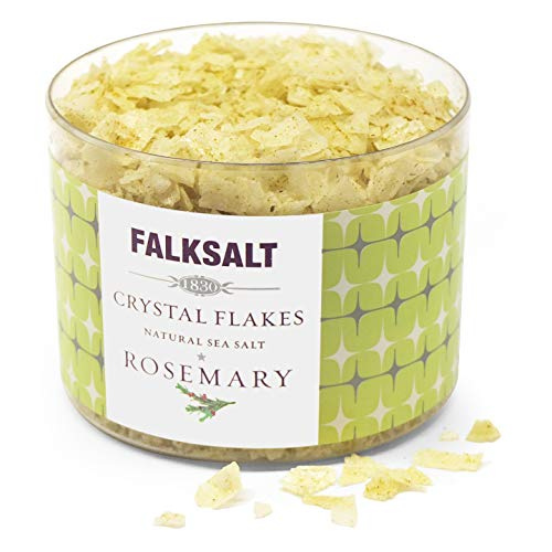 Rosemary Sea Salt - FALKSALT Rosemary Mediterranean Sea Salt Flakes 2.47oz - 5 Flavors - (Comparable to Maldon) Great for Meat, Poultry, Seafood, Pasta, and Veggies. Use as a Premium Finishing Salt