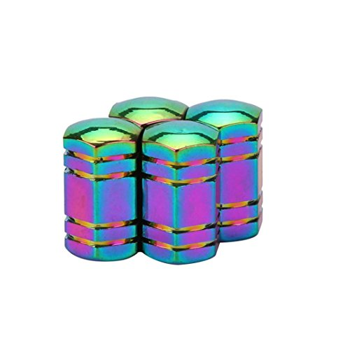 Ecosin New Style 4x Aluminum Bullet Car Truck Air Port Cover Tire Rim Valve Wheel Stem Caps (Multicolor - Color Rims Multi