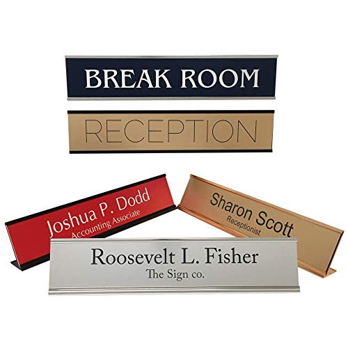 - Personalized Office Name Plate Sign with Aluminum Wall or Desk Holder - 2x10 - Customize
