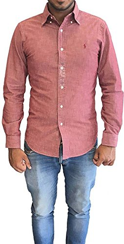 aef5634744486 Image Unavailable. Image not available for. Colour  Polo Ralph Lauren Men s  Slim Fit Long Sleeve Button-Down Solid Shirt Red