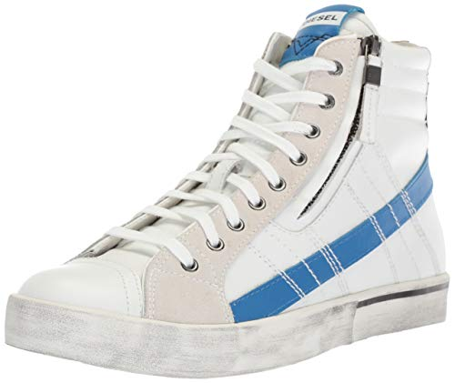 Diesel Men's D-Velows LACE-Sneaker mid, Star White/Imperial Blue, 8 M US
