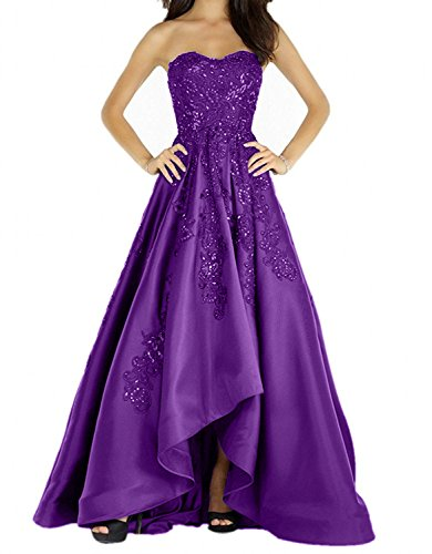 Damen Satin lo Dunkel Langes Abendkleider Partykleider Burgundy Hi Lila Ballkleider Charmant Bodenlang Abiballkleider Neu 2018 gYdqgIw
