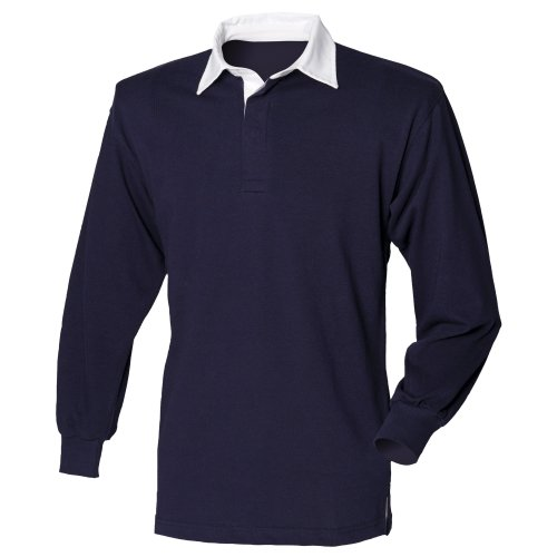 Front Row Long sleeve plain rugby shirt Navy/White XL ()