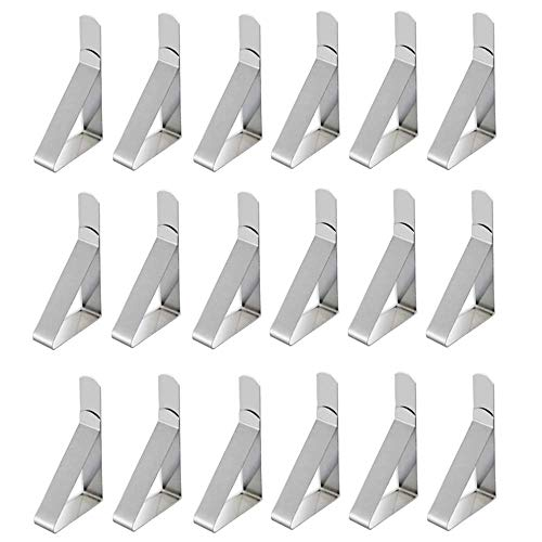 Tablecloth Clips Stainless Steel Table Cloth Holders Table Cover Clamps for Kitchen Dining Party Outdoor Wedding and Picnic (18-Pack)