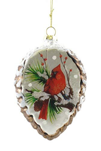 Gerson Winter Cardinal Frosted Pinecone Hanging Glass Ornament