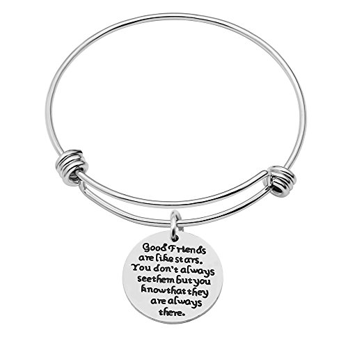 Bangle Bracelet Graduation Gift For Best Friend- Good Friend Are Like Stars,You Don't Always See Them (Style B) (Adult Friendship Bracelets)