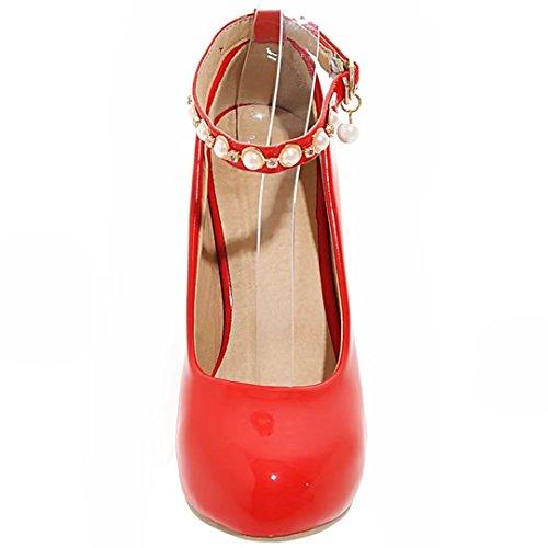 AIYOUMEI Damen Knöchelriemchen Stiletto High Heels Pumps mit Plateau und Perlen Modern Schuhe Rot