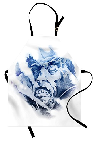 (Lunarable Vampire Apron, Evil Face in Fractal Painting Style Fantasy Monster Fictional Character, Unisex Kitchen Bib Apron with Adjustable Neck for Cooking Baking Gardening, Pale Blue Black)