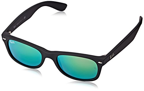 Ray-Ban RB2132 New Wayfarer Mirrored Sunglasses, Black Rubber/Green Flash, 52 mm ()