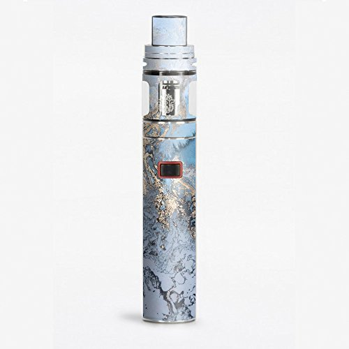 Skin Decal Vinyl Wrap for Smok Stick X8 Vape Skins Stickers Cover / Blue Gold Grey Marble Pattern - Marble Blue Grey