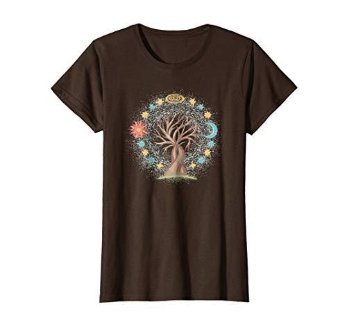 Tree Sun and Moon with Stars Spiritual T-Shirt