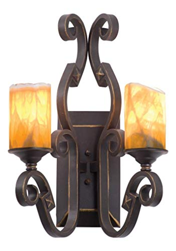 Two Light Antique Copper Petite Victorian Glass Wall Light Antique Copper