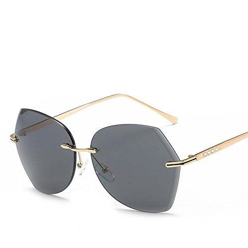 Aoligei Film couleur océan sans frame lunettes de soleil fashion diamants cadre métallique Dame lunettes de soleil mode lunettes de soleil F