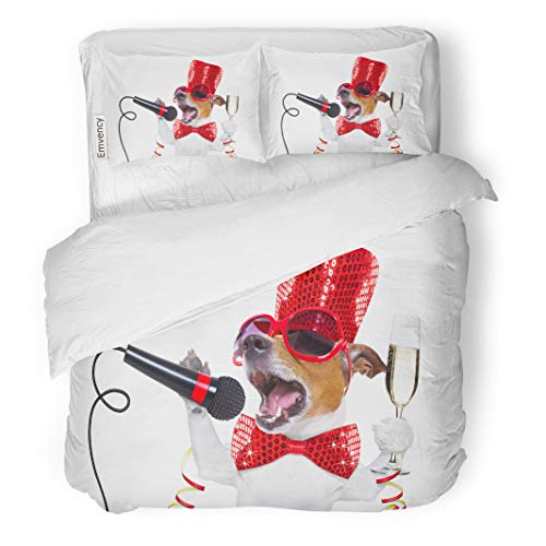Semtomn Decor Duvet Cover Set King Size Jack Russell Dog Celebrating New Years Eve Champagne Glass 3 Piece Brushed Microfiber Fabric Print Bedding Set Cover