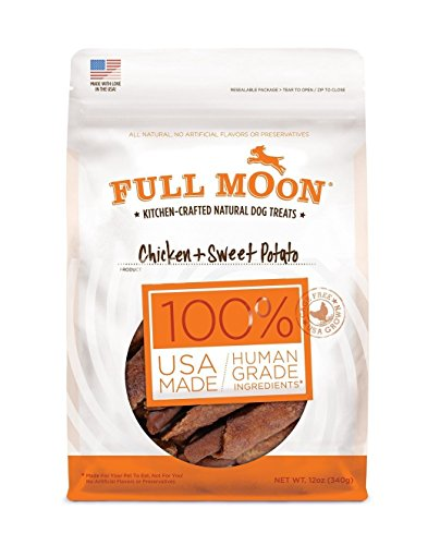 - Full Moon All Natural Human Grade Chicken & Sweet Potato Dog Treats, 12 Ounce