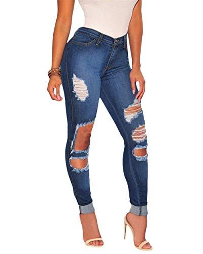 De Alta Als Cintura Azul Elásticos Del Lápiz Mujeres Recortados Agujero Rasgado Battercake Pantalones Bild Estiramiento Casuales Vaqueros Modernos Los AYqARtw