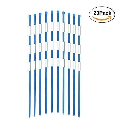 Read About FiberMarker Driveway Markers 48-Inch 20-Pack Blue 5/16-Inch Dia Solid Fiberglass Driveway...