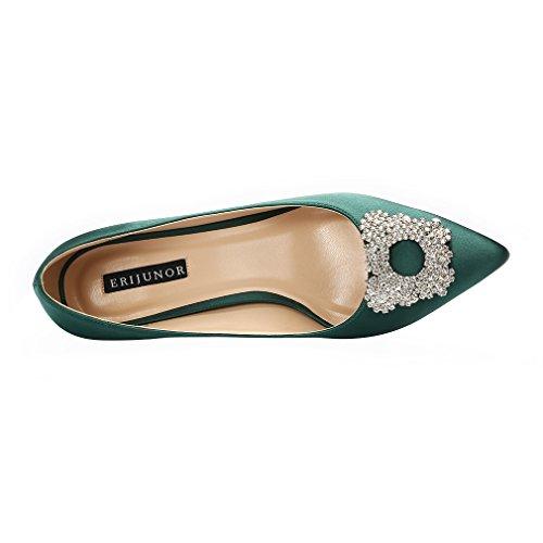 Evening Satin Heel Dark Green Low Dress Women's Pumps Brooch Rhinestone ERIJUNOR Shoes Wedding F06wY