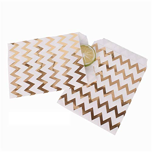 Xiaogongju 50Pcs/ Lot Treat Candy Bag Party Favor Paper Bags Chevron Polka Dot Stripe Printed Paper Craft Bags Bakery Bags Gold Chevron -