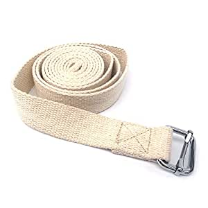 Lixada Yoga Stretching Strap 10ft Cotton Exercise Strap Fitness Physical Therapy Strap with Metal Ring