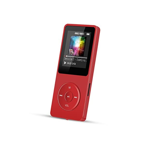 8GB MP3 Player, Lossless Sound 70 Hours Playback Music Player,Supports up to 128GB,Red 3