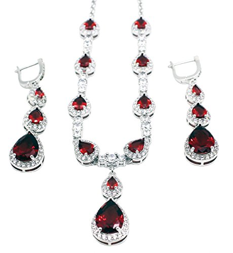 HERMOSA Silver Jewelry Set: Necklace Earrings Garnet Amethyst Morganite Topaz
