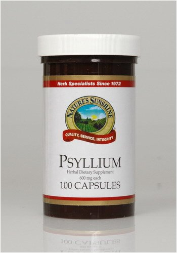 Naturessunshine Psyllium (Seeds) Intestinal System Support 600 mg 100 Capsules (Pack of 12)
