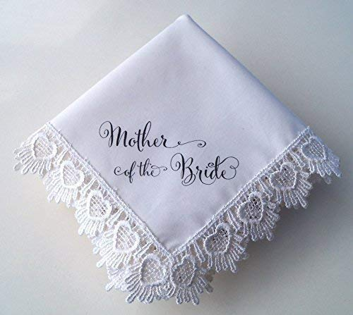 (Mother of the Bride Wedding Handkerchief, Hearts Lace, Printed)
