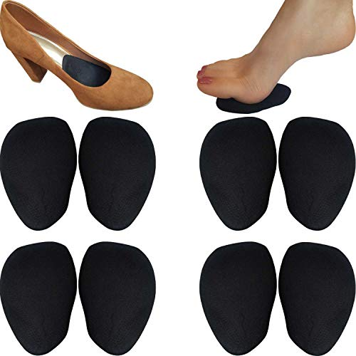 (Chiroplax High Heel Pads (4 Pairs) Suede Leather Ball of Foot Cushions Insoles, Metatarsal Forefoot Anti Slip Shoe Inserts for Women (Black, Normal Thickness))