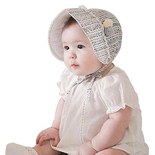 AMA(TM) Newborn Baby Girls Cotton Royal Beret Beanie Hat Cap Sunbonnet (Blue)