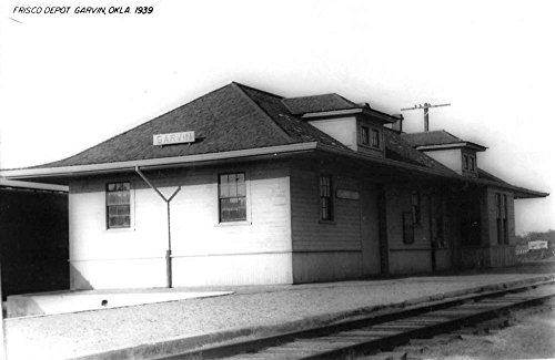 Garvin Oklahoma Frisco Railroad Depot Real Photo Vintage Postcard (Vintage Real Photo Postcard)