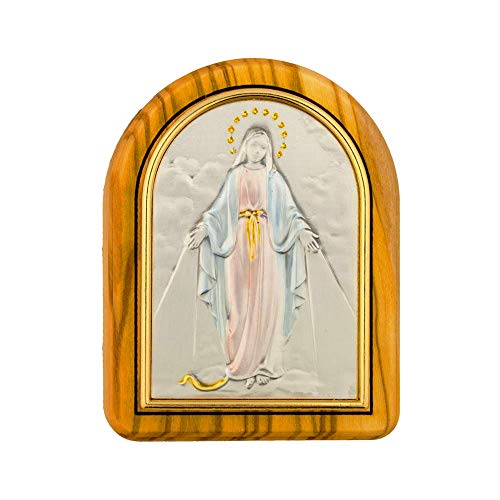 VILLAGE GIFT IMPORTERS Olive Wood Holy Figure Box | for Men and Women | Comes with Metal Plaque of Holy Figure (Virgin Mary)