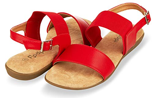 Floopi Summer Sandals for Women | Cute, Open Toe Sandals| Comfy, Wide Elastic & Faux Leather Ankle Straps W/Buckle Design, Flat Sole, Memory Foam Insole (8, Red-512)