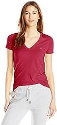 Lacoste Women\'s Short-Sleeve Cotton Jersey V-Neck T-Shirt, Bordeaux, 36