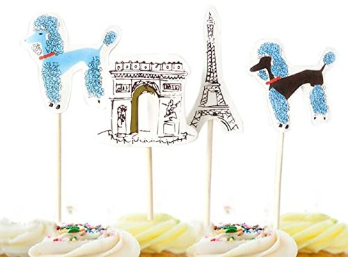 Paris and Poodles Cupcake Toppers Picks Party Decoration French Romance Party Toppers