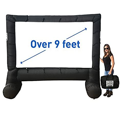 MEGA SCREEN MOVIE SCREEN – INFLATABLE PROJECTION SCREEN- PORTABLE HUGE OUTDOOR SCREEN - Over 9' (Projector Projection Screen)