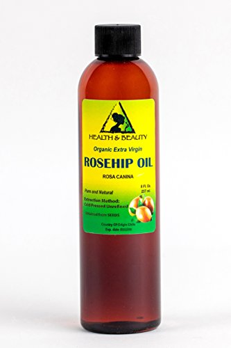 Rosehip Seed Oil Organic Unrefined by H&B OILS CENTER Raw Extra Virgin Cold Pressed Premium Quality Natural Pure 8 oz