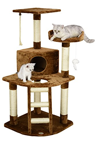 Go Pet Club Corner Cat Tree 32-inch W by 25-inch L by 47.5-inch H Brown