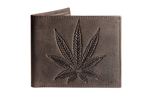 Unique-Marijuana-Leaf-Embossed-Distressed-Antique-Leather-Bifold-Slim-Wallet-Dark-Brown