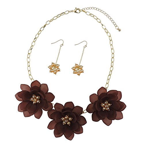 BOCAR Bib Statement Pendant Dark Blue Flower Jewelry Set Necklace and Earrings for Women Gift (NK-10372-hot chocolate)
