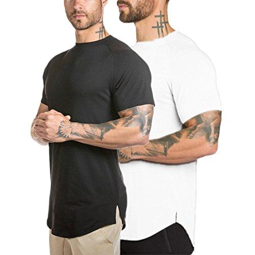 Athlemon Mens Muscle T Shirts Short Sleeve Hipster Hip Hop Longline T-Shirt Cotton Curved Hem Top Tees Shirt (XXXL, Style2 Black+White) by Athlemon