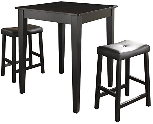 Crosley Furniture 3-Piece Pub Set with Tapered Leg Table and Upholstered Saddle Stools - Black