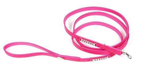 Petego La Cinopelca Soft Calfskin Teacup Dog Leash with Crystals, Fuchsia, 63 Inches