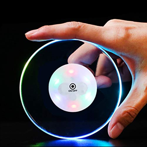(Crystal Ultra-thin LED Light Coaster Cocktail Coaster,LED Flash Light Cup Mat Acrylic Wine Coaster Lights,Ideal for Bar Club Restaurant Decor, Multi Color (Pack of)